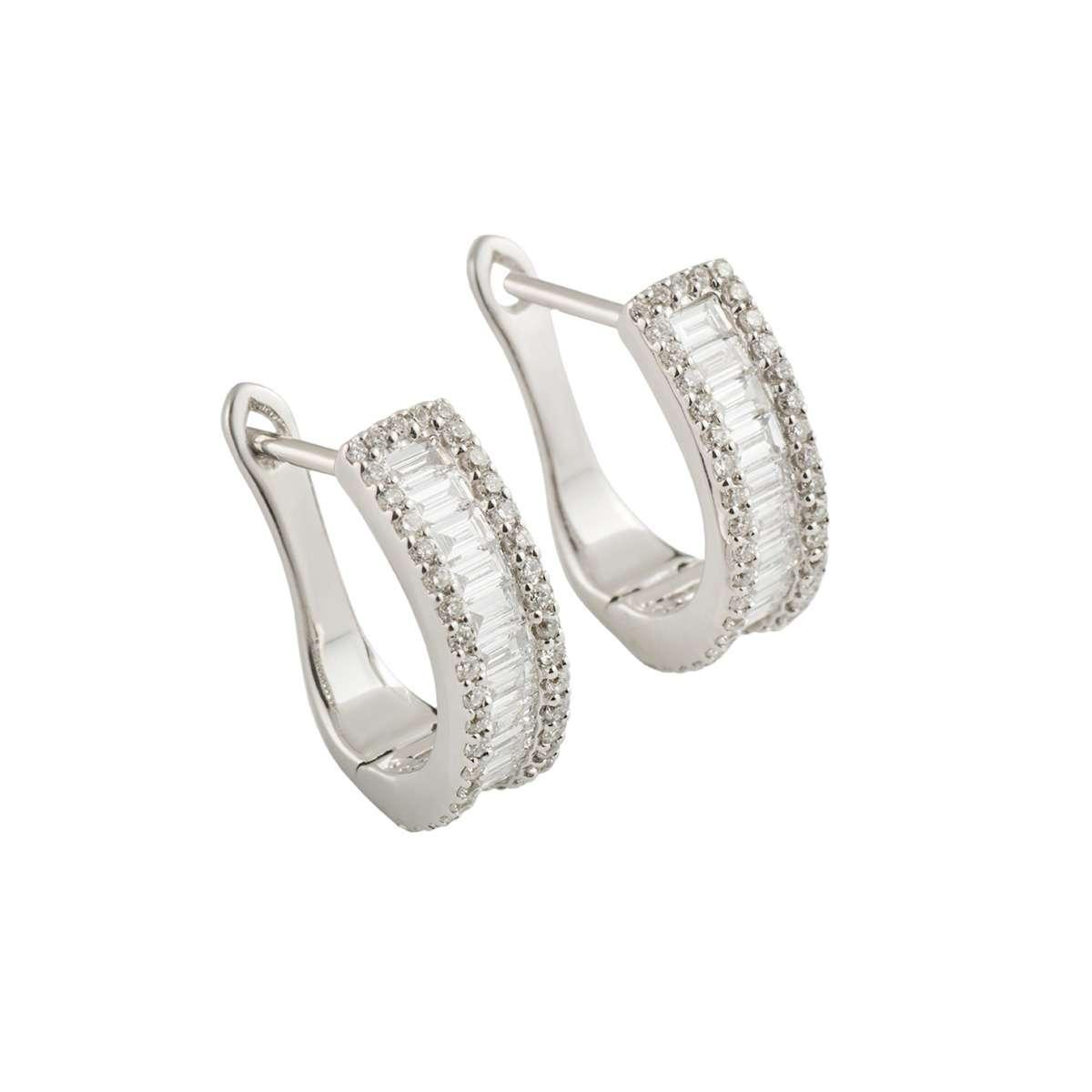 White Gold Diamond Hoop Earrings 1.35ct